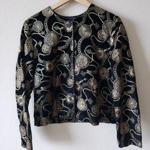 Norton McNaughton Black & Gold Embroidered Blazer